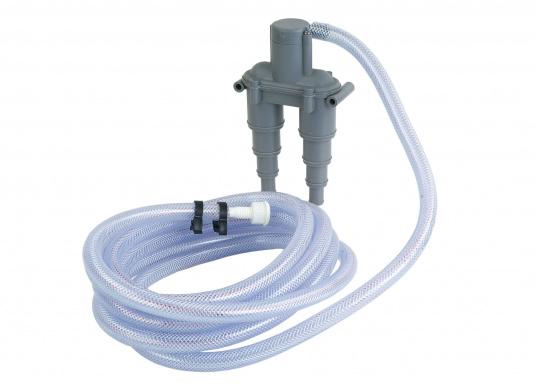 Belüftungsventil zur Belüftung desAbgassystems bzw. der Kühlwasserleitung.Der Belüfter ist aus korrosionsfestem Kunststoff gefertigt und passend für Schlauch-Ø: 13 / 19 / 25 / 32 mm. Lieferbar in zwei Ausführungen.  (Bild 4 von 4)