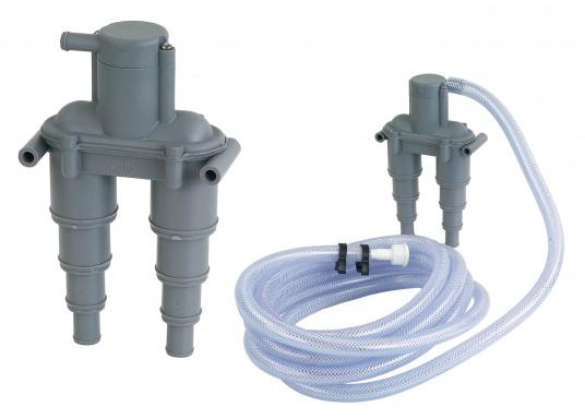 Belüftungsventil zur Belüftung desAbgassystems bzw. der Kühlwasserleitung.Der Belüfter ist aus korrosionsfestem Kunststoff gefertigt und passend für Schlauch-Ø: 13 / 19 / 25 / 32 mm. Lieferbar in zwei Ausführungen.