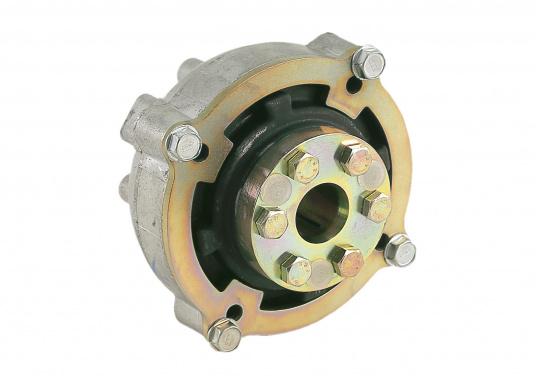 Diese Kupplung bietet einen entscheidenden Vorteil: Mit dieser Kupplung lassen sich Fluchtungsfehler des Motors zur Propellerwelle von bis zu 2° ausgleichen. Erhältlich in verschiedenen Ausführungen.
