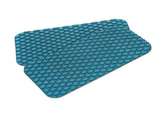 Antirutsch-Pads mit Rombenstruktur und praktischer, selbstklebender Beschichtung auf der Rückseite.Lieferbar in der Farbe:blau, jeweils in verschiedenen Größen. Packungsinhalt: 2 Pads.