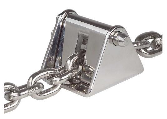 Stabiler Kettenstopper aus rostfreiem Edelstahl zur Entlastung der Ankerwinde.Geeignet für 8 mm und 10 mm-Ketten.