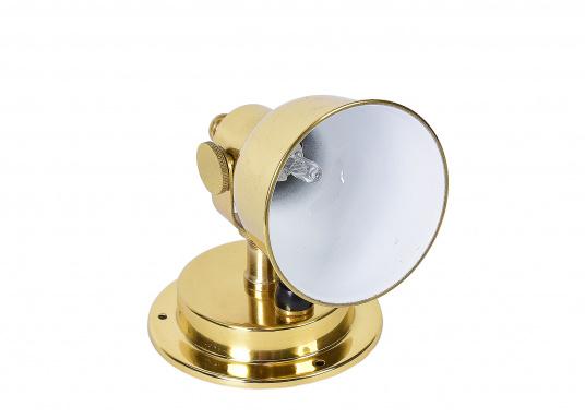 Das Gehäuse aus hochglanzpoliertem Messing verleiht diesem Wandstrahler ein schickes Aussehen. Der Reflektor ist von innen weiß beschichtet und sorgt so für eine größere Lichtausbeute. Der Lampenkopf ist schwenkbar.  (Bild 4 von 5)