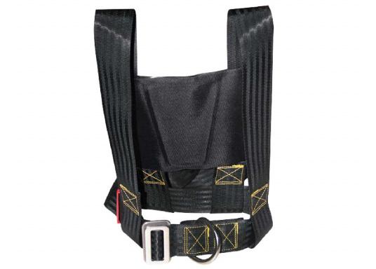 Für Ihre Sicherheit! Das Sicherheits-Lifebelt ist CE-geprüft (ISO 12401) und mit einem D-Ring zur Befestigung einer Sorgleine ausgestattet. Geeignet für Erwachsene ab 50 kg Körpergewicht.