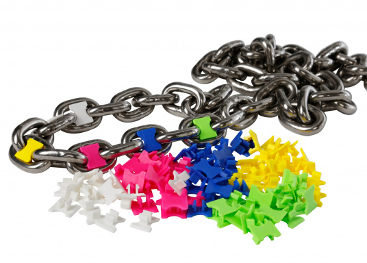 Farbige Kettenmarkierungen aus stabilem Kunststoff. Packungsinhalt: 5 verschiedene Farben, je 10 Stück. Lieferbar für 6, 8 und 10 mm DIN 766 Ketten.  (Bild 2 von 2)