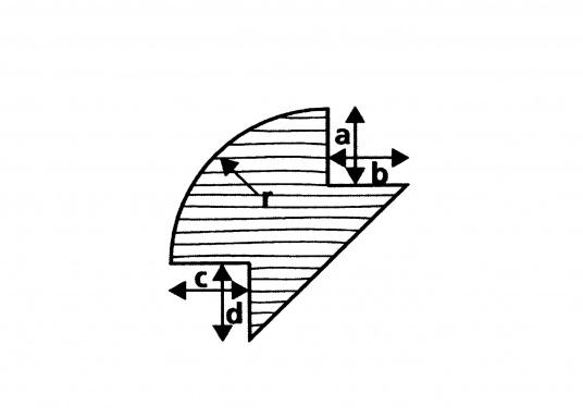 Sauber gefräste und geschliffene Eckprofile aus hochwertigem Teakholz. Länge ca. 2 m. (Bild 3 von 3)