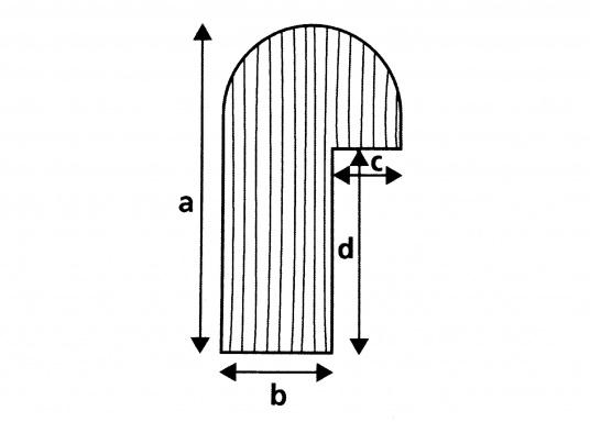 Sauber gefräste und geschliffene Tischrandprofile und Ecken. Leisten-Länge: ca. 2 m.  (Bild 3 von 3)