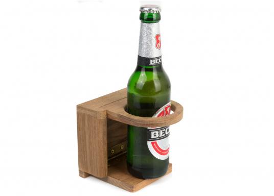 Dieser praktische Glas-/Flaschenhalter aus Teak kann platzsparend geklappt werden. Loch-Ø: 7 cm.