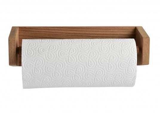 Küchenrollenalter aus Teak. Abmessungen: 33 x 10 x 10 cm. Das hochwertige Teakholz ist wasserabweisend, beständig gegenextreme Temperaturschwankungen, harte Witterungen, Pilz- und Insektenbefall.  (Bild 2 von 3)