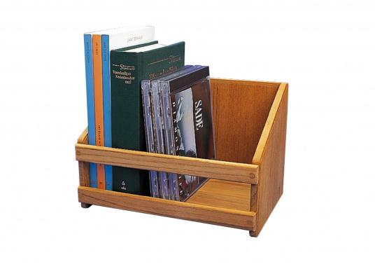 Regal aus hochwertigem Teakholz, passend für CD's oder Taschenbücher. Erhältlich in zwei Größen (LxTxH): 22 x 14 x 15 cm / 30 x 14 x 15 cm. (Bild 2 von 3)