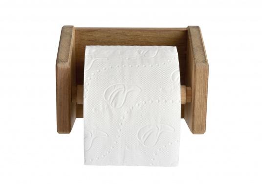 Toilettenpapierhalter aus hochwertigem Teakholz. Abmessungen: 16 x 17 x 12 cm. (Bild 2 von 3)