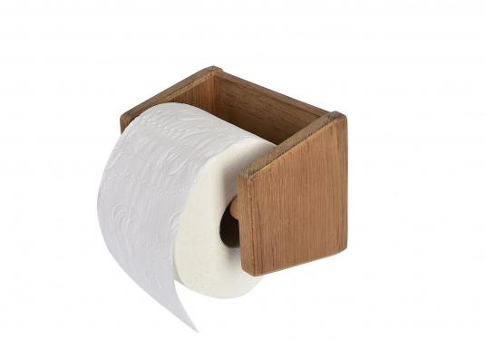 Toilettenpapierhalter aus hochwertigem Teakholz. Abmessungen: 16 x 17 x 12 cm.