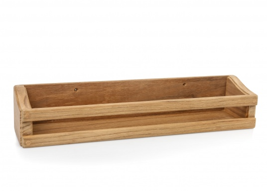 Praktisches Ablageregal aus hochwertigem Teakholz für mehr Ordnung an Bord! Abmessungen: 34 x 6,5 x 8 cm.