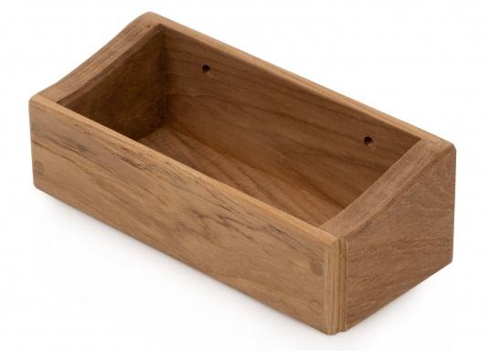 Praktisches, kleines Ablagefach aus Teakholz, ideal für Schlüssel oder sonstige kleine Utensilien. Abmessungen: 18 x 6 x 8 cm.  (Bild 3 von 4)