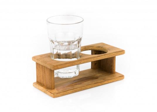 Schicker Glashalter aus hochwertigem Teakholz geeignet für 2 Gläser. DerLochdurchmesser beträgt70 mm. Länge: 220 mm.  (Bild 2 von 2)