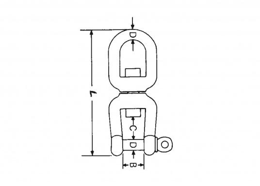 Kettenwirbelschäkel Gabel/Gabel  Edelstahl, rostfrei (Werkstoff 1.4401)  lieferbar in verschiedenen Größen  (Bild 4 von 4)