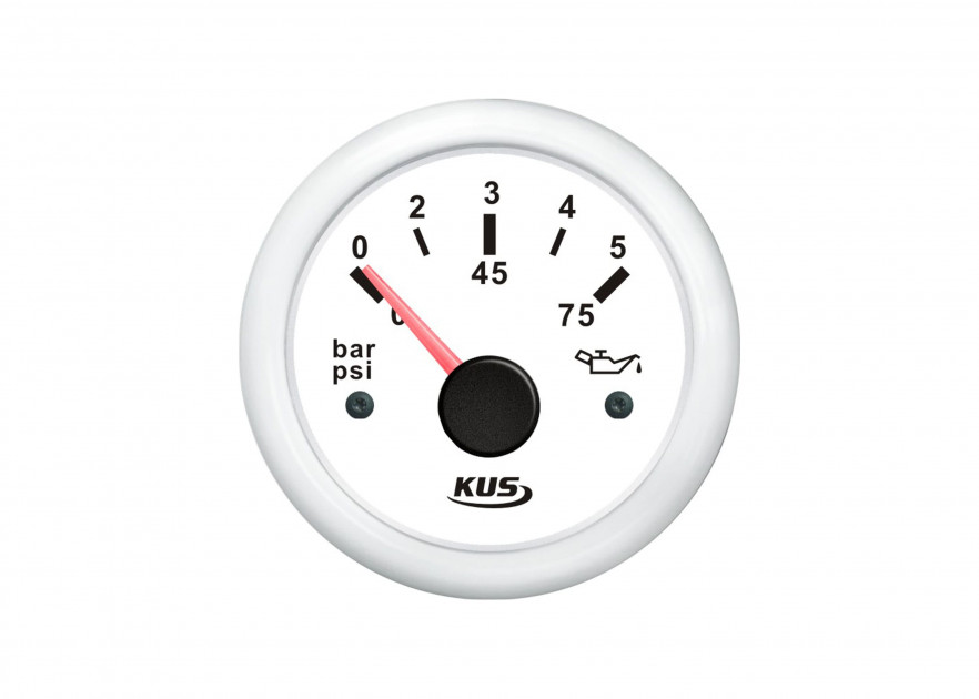 "KUS Sea V Series Oil Pressure Gauge 52mm 2/"" 10bar Black"